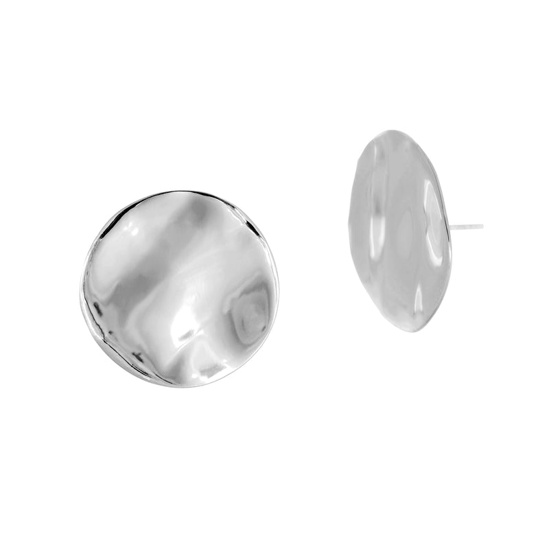 Disc Wave Studs - Silver