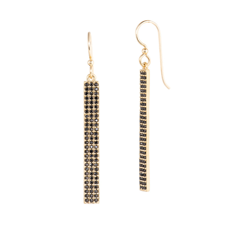 Bar Drop Earrings - Black