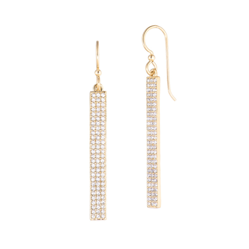 Bar Drop Earrings - Clear