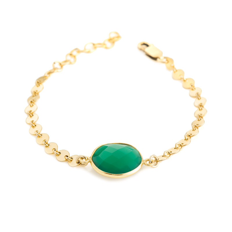 Coin Chain Stone Bracelet - Green Onyx