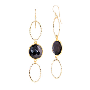 Oval Stone Hoops - Black Onyx
