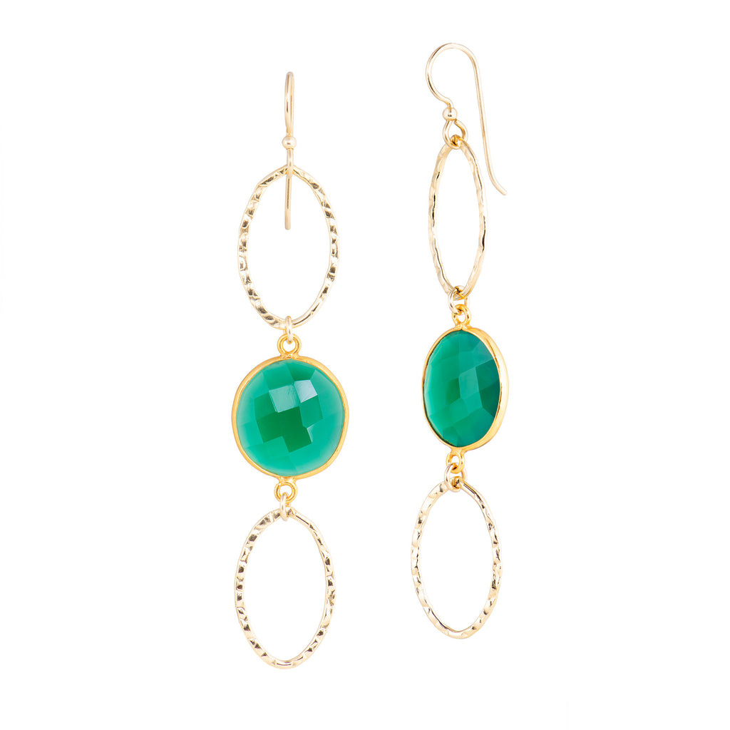Oval Stone Hoops - Green Onyx