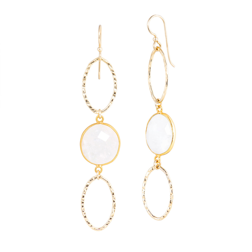 Oval Stone Hoops - Moonstone
