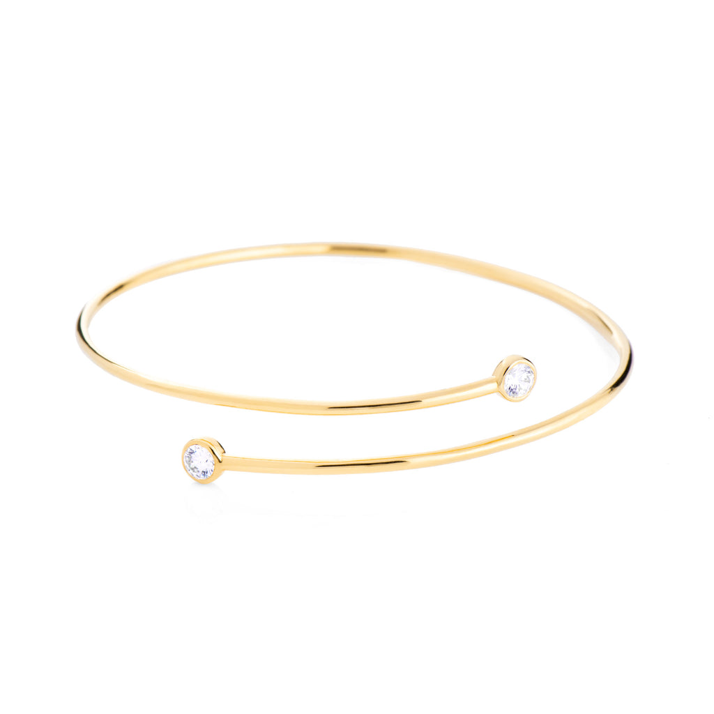 Wrap Crystal Bangle - Gold