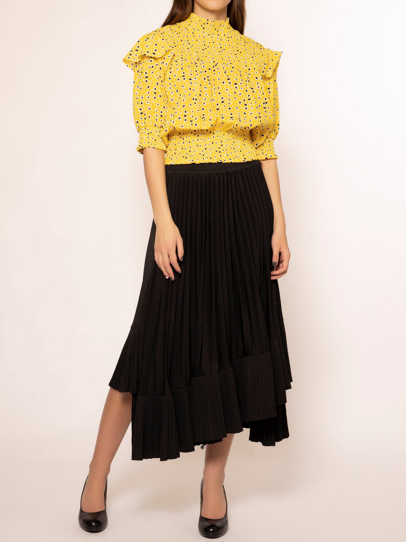 Abstract Print Smocking Detail Short Sleeve Top TOP Gracia Fashion YELLOW S