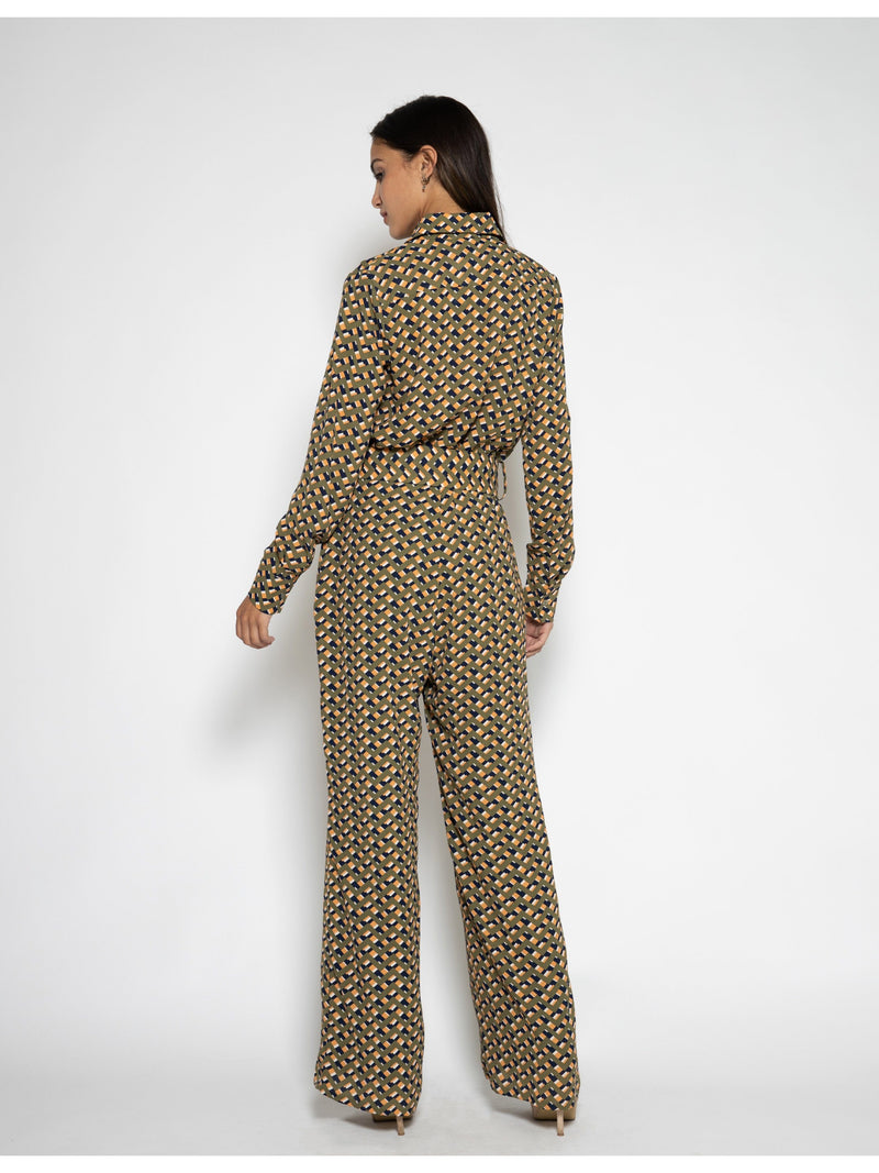 Button-Up and Belted Jumpsuit JUMPSUIT Gracia Fashion