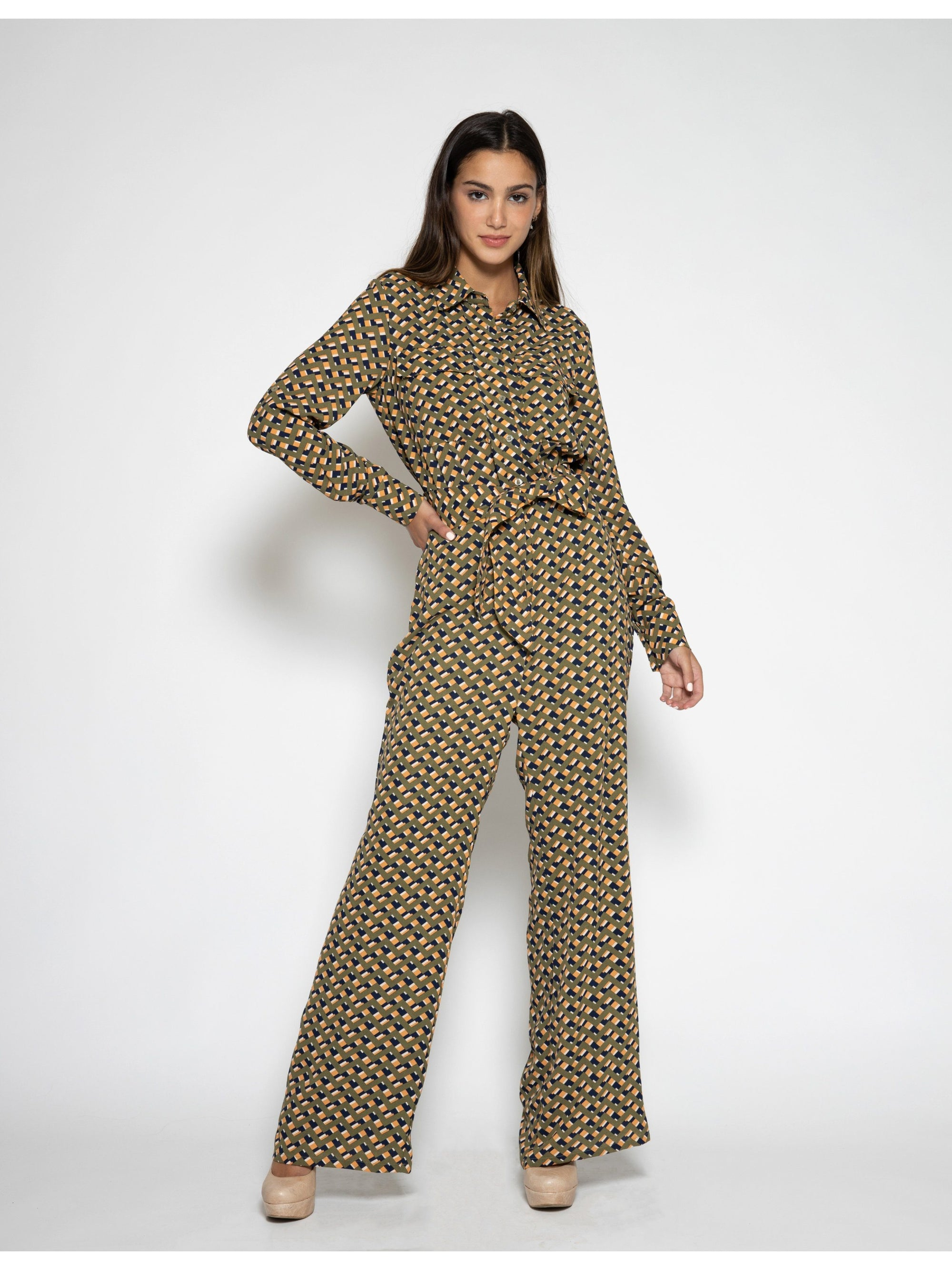 Button-Up and Belted Jumpsuit JUMPSUIT Gracia Fashion OLIVE S