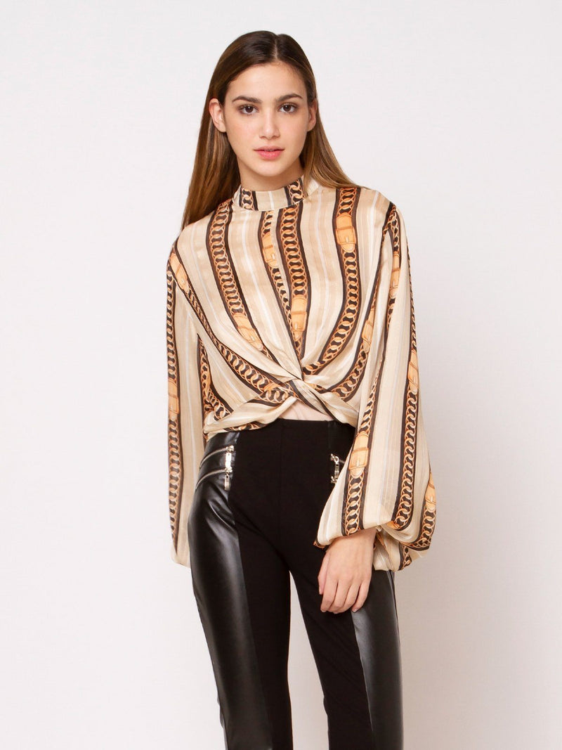 Chain Print Knot Top - Gracia Fashion