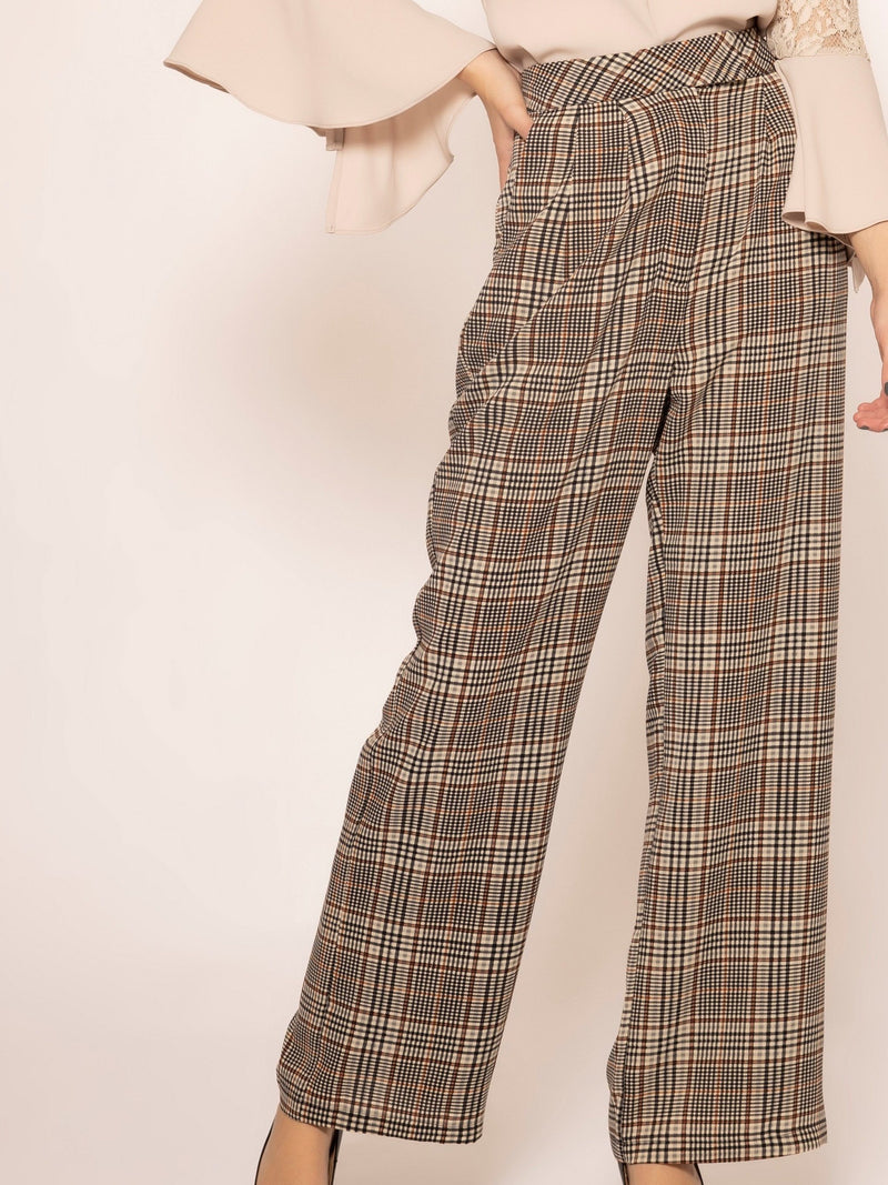 Checkers print front pockets straight pants PANTS Gracia Fashion