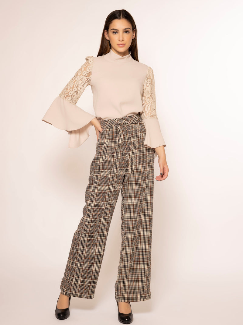 Checkers print front pockets straight pants PANTS Gracia Fashion BEIGE S