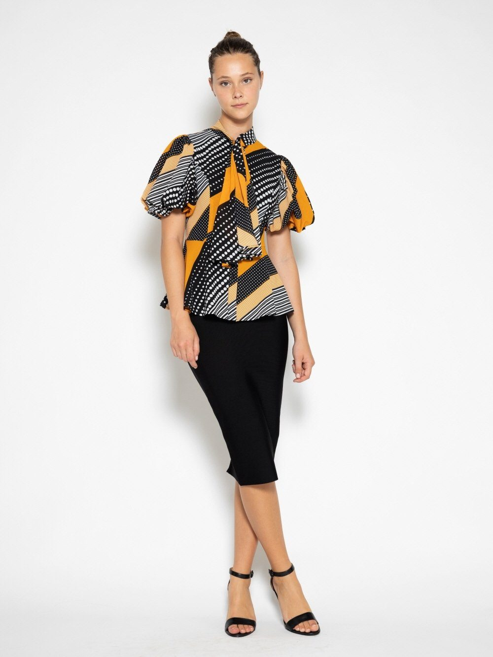 Dot and Stripe Top with Knot Neckline TOP Gracia Fashion BLACK/MUSTARD S