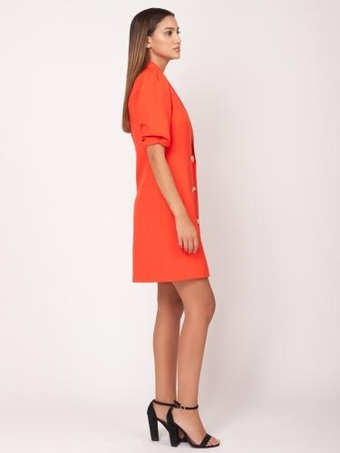 Double button puff sleeve midi dress - Gracia Fashion