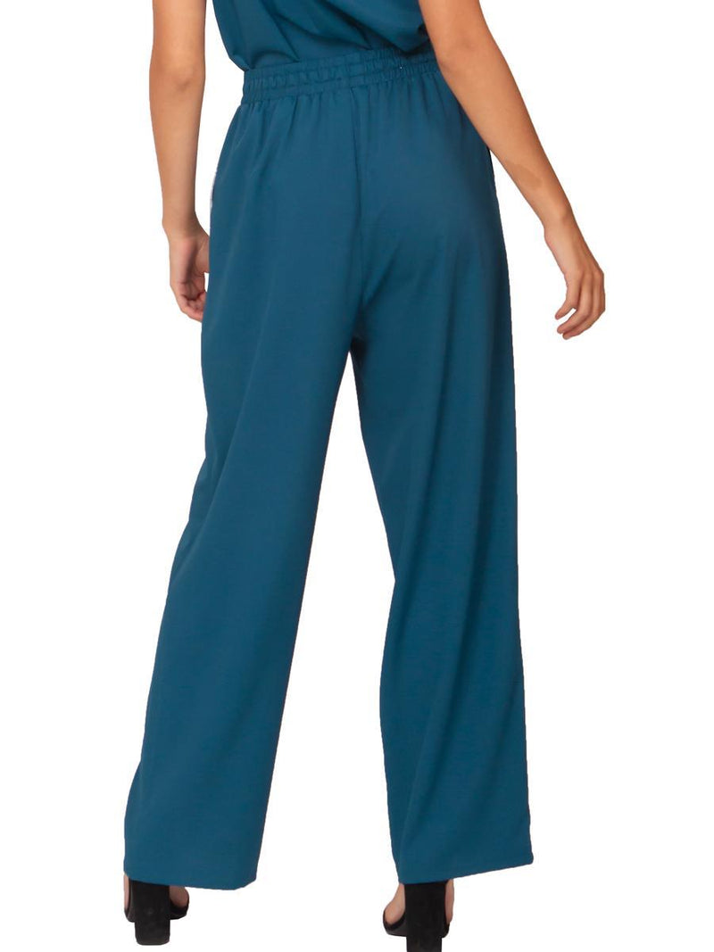 Band waist long pants with sequin pocket trim - Gracia Fashion