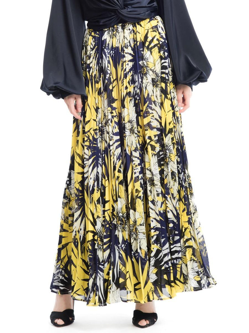 Flower patterned maxi pleated skirt - Gracia Fashion