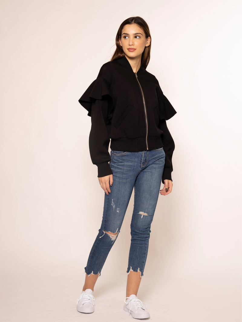 Front Zipper Flare Detail Sleeve Jacket JACKET Gracia Fashion BLACK S