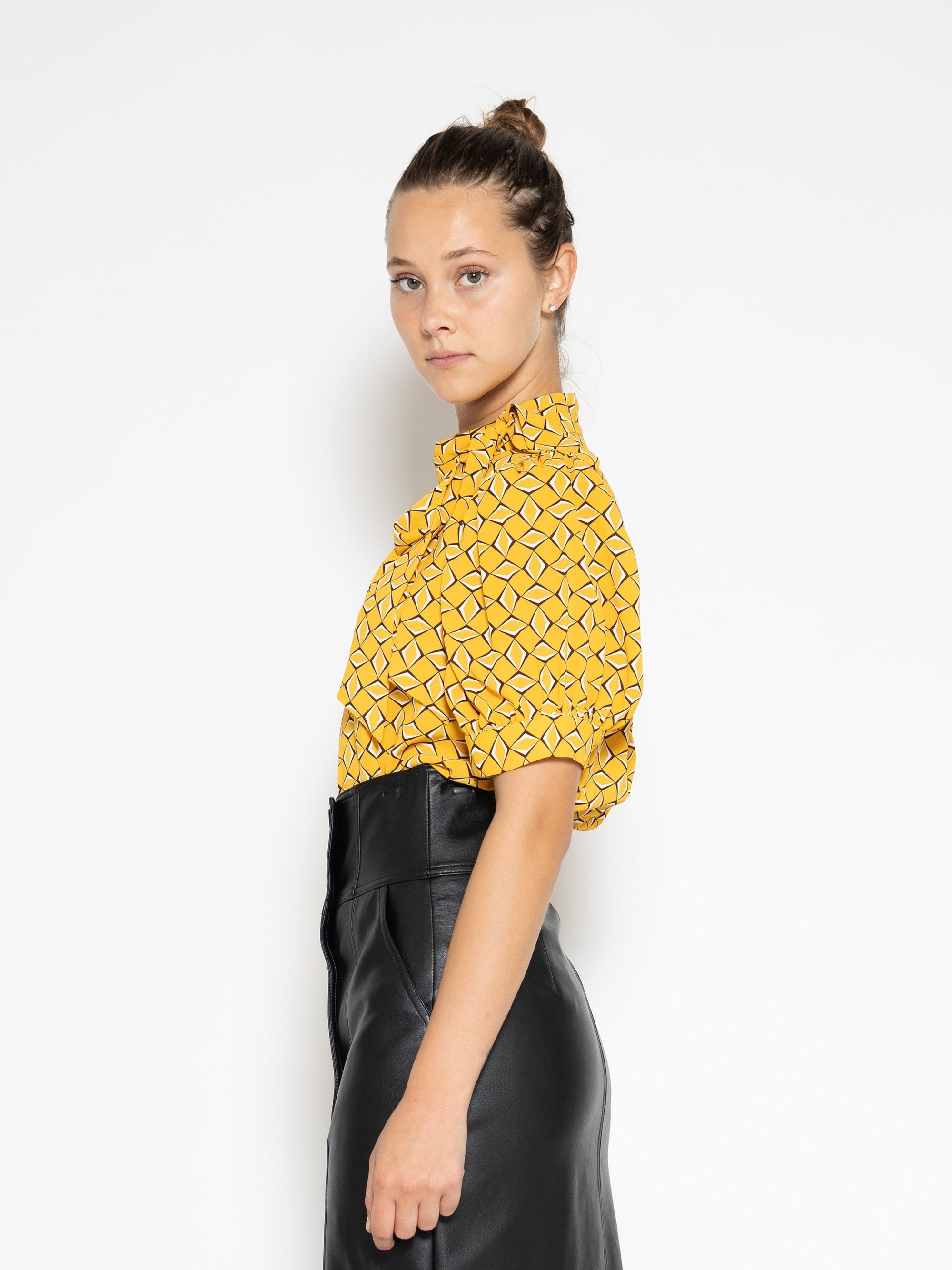 Graphic Printed Half Sleeve Top with Neck Bow TOP Gracia Fashion MUSTARD S