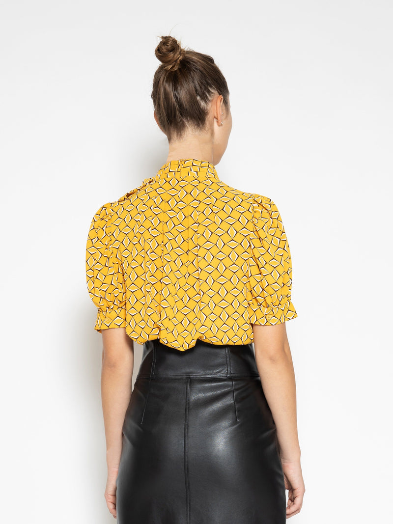Graphic Printed Half Sleeve Top with Neck Bow TOP Gracia Fashion