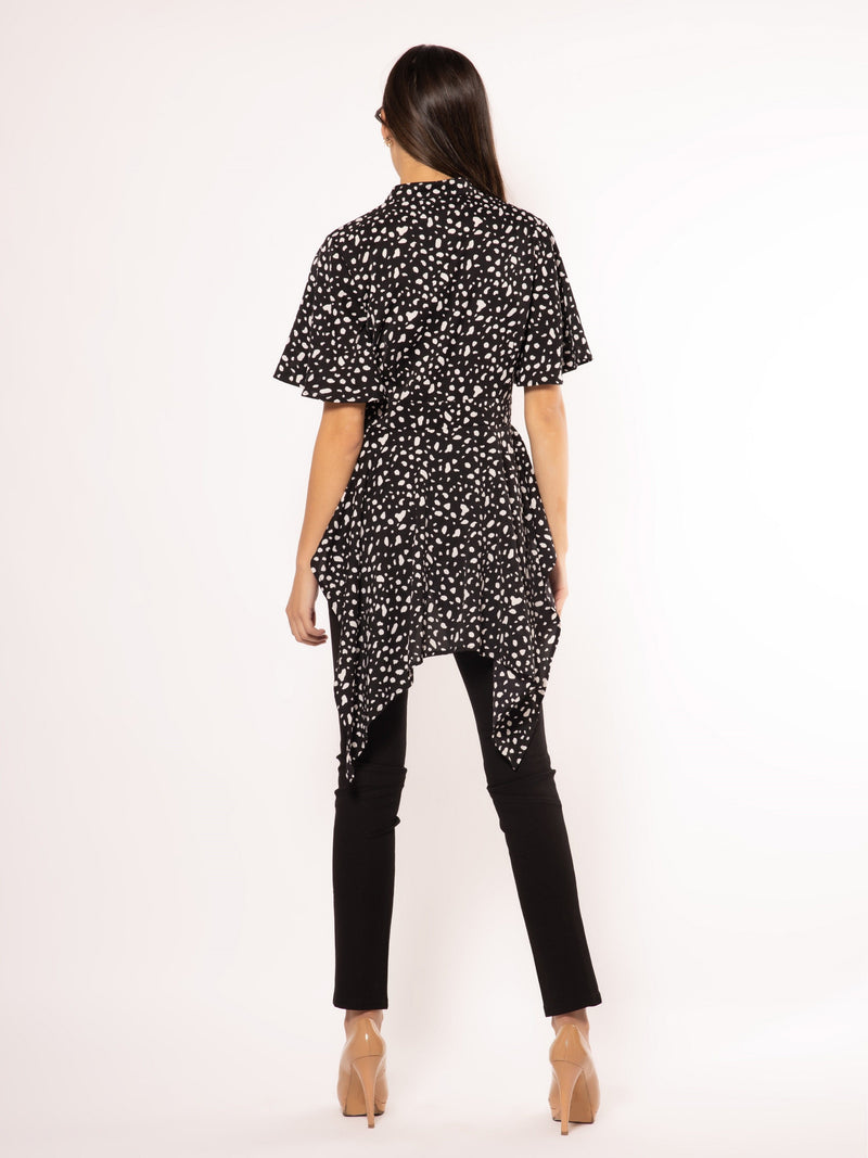 High-Low Button-Up Blouse with Speck Print TOP Gracia Fashion