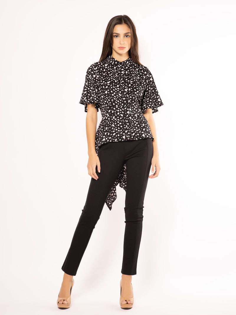 High-Low Button-Up Blouse with Speck Print TOP Gracia Fashion BLACK S