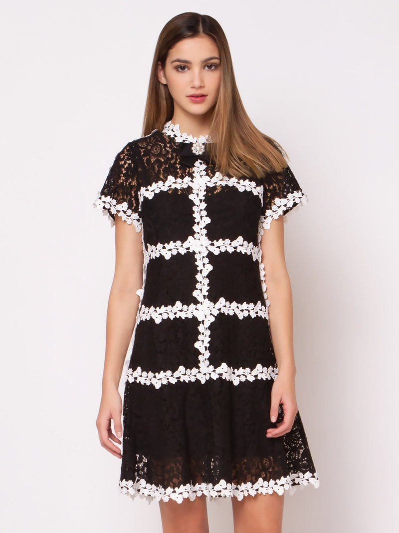 Lace Short Sleeve Dress With Pearl Brooch - Gracia Fashion
