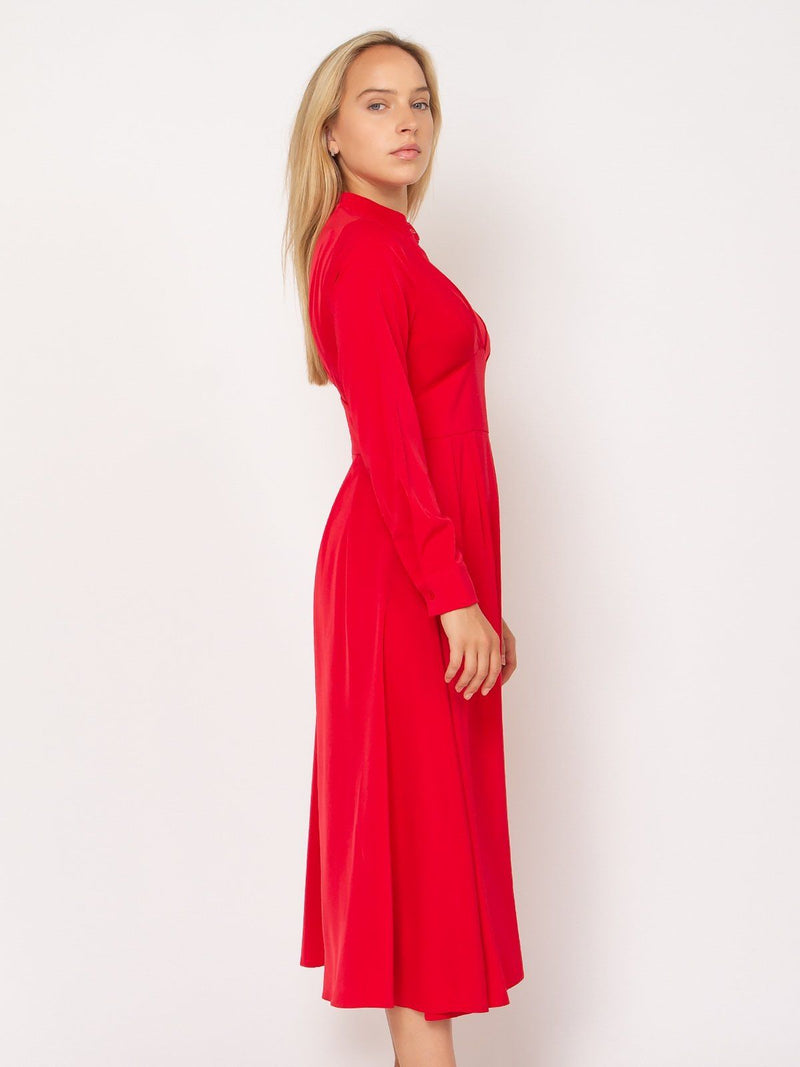 Long high neck dress with waist detail - Gracia Fashion