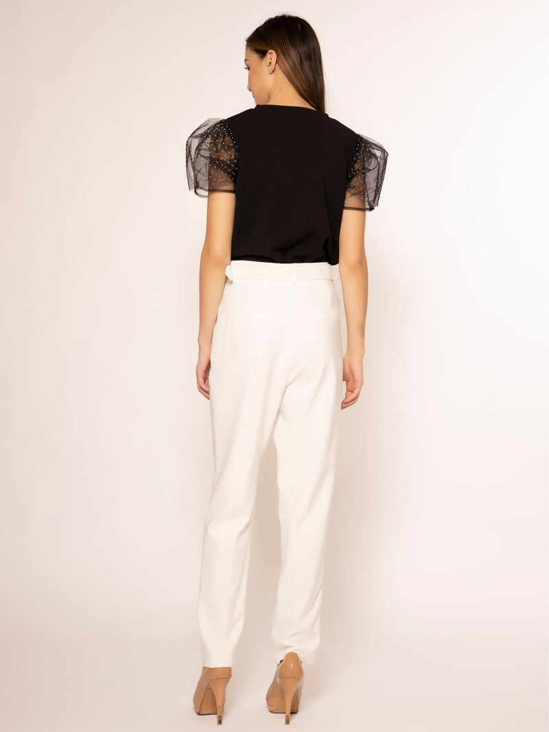 Mesh Dot Point and See-Through Sleeve Top TOP Gracia Fashion