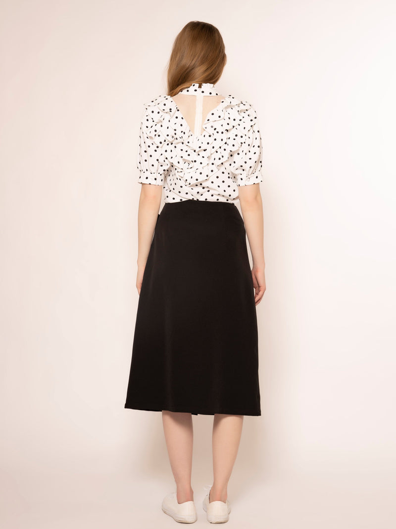 Mesh Fabric Point Half Sleeves Dot Pattern Top TOP Gracia Fashion
