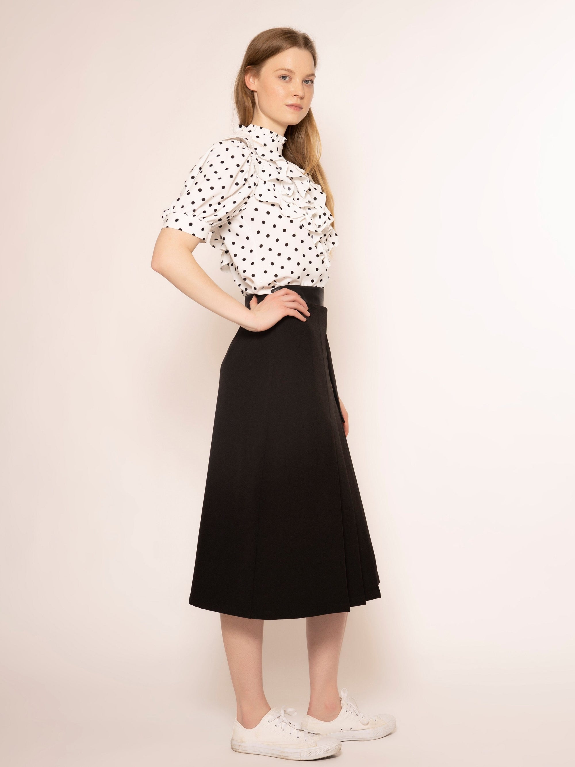 Mesh Fabric Point Half Sleeves Dot Pattern Top TOP Gracia Fashion WHITE S