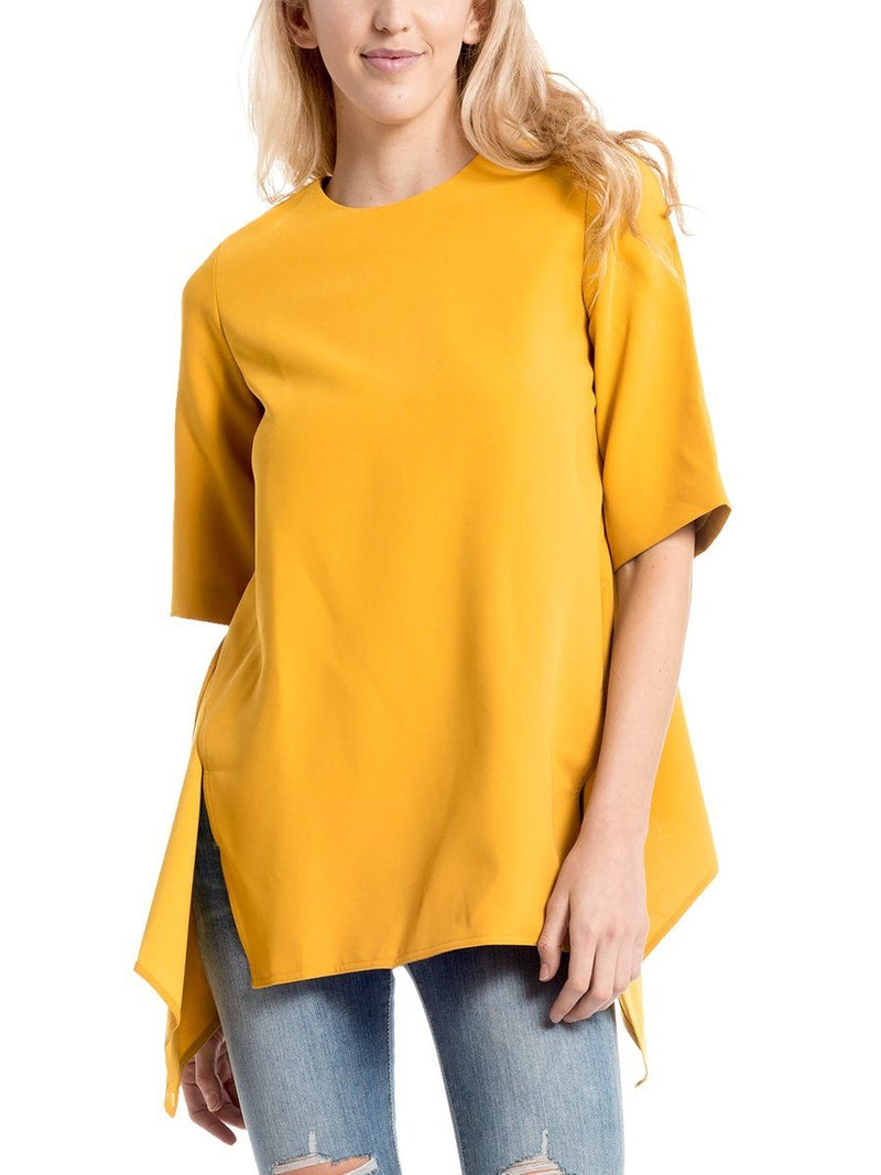 Middle Sleeve Top with Side Slits - Gracia Fashion