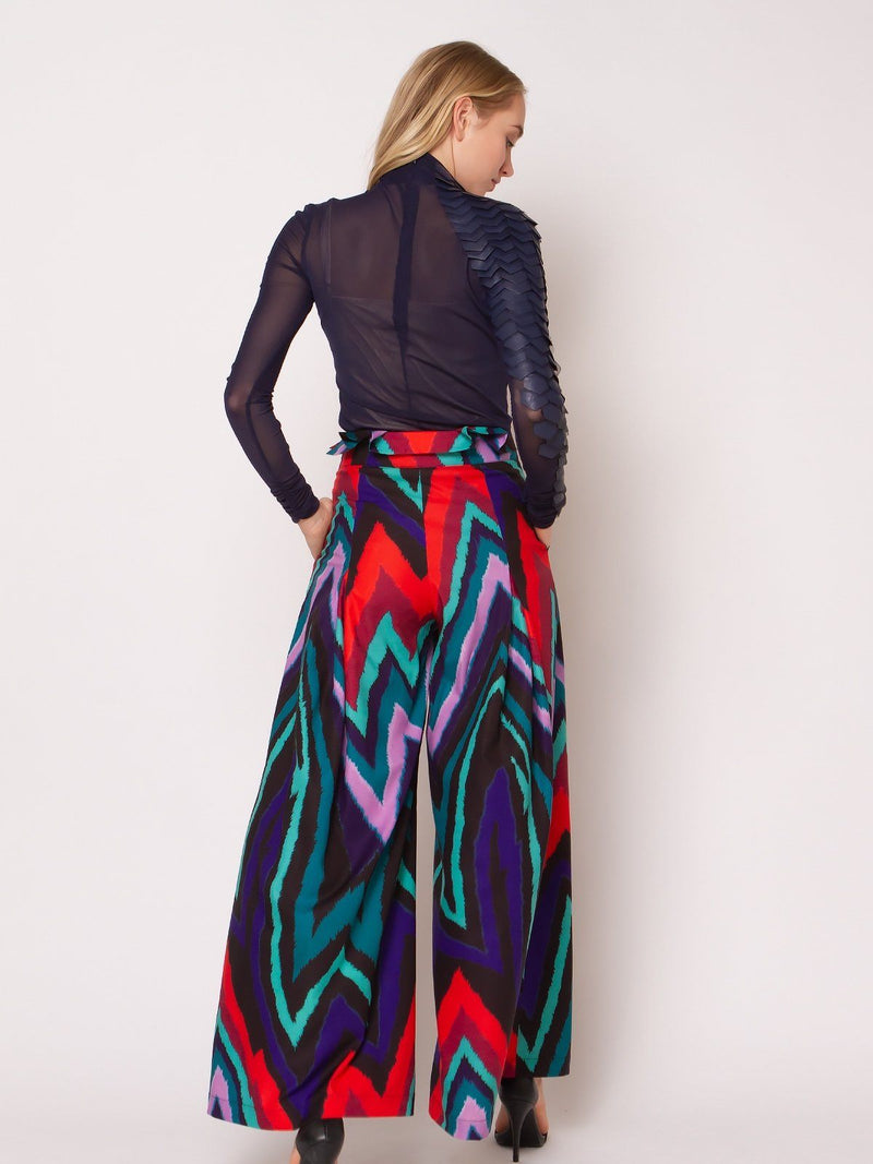 Multicolor High Waist Strap Wide Pants - Gracia Fashion