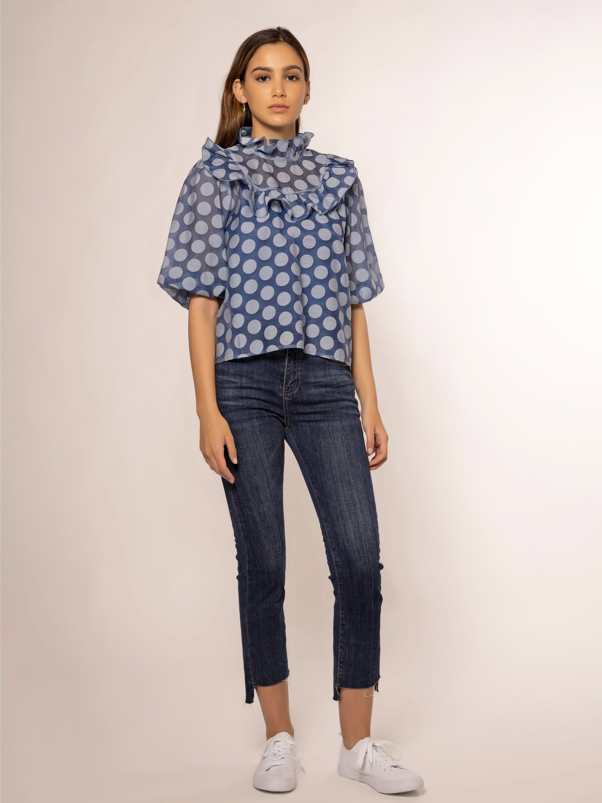 Neck Flare Detail Dot Pattern See-Through Top TOP Gracia Fashion BLUE S