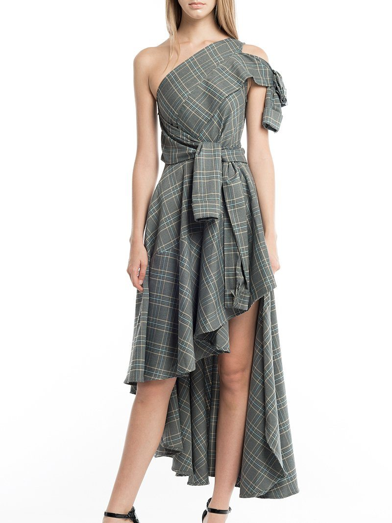 One Shoulder High-Low Plaid Dress - Gracia Fashion