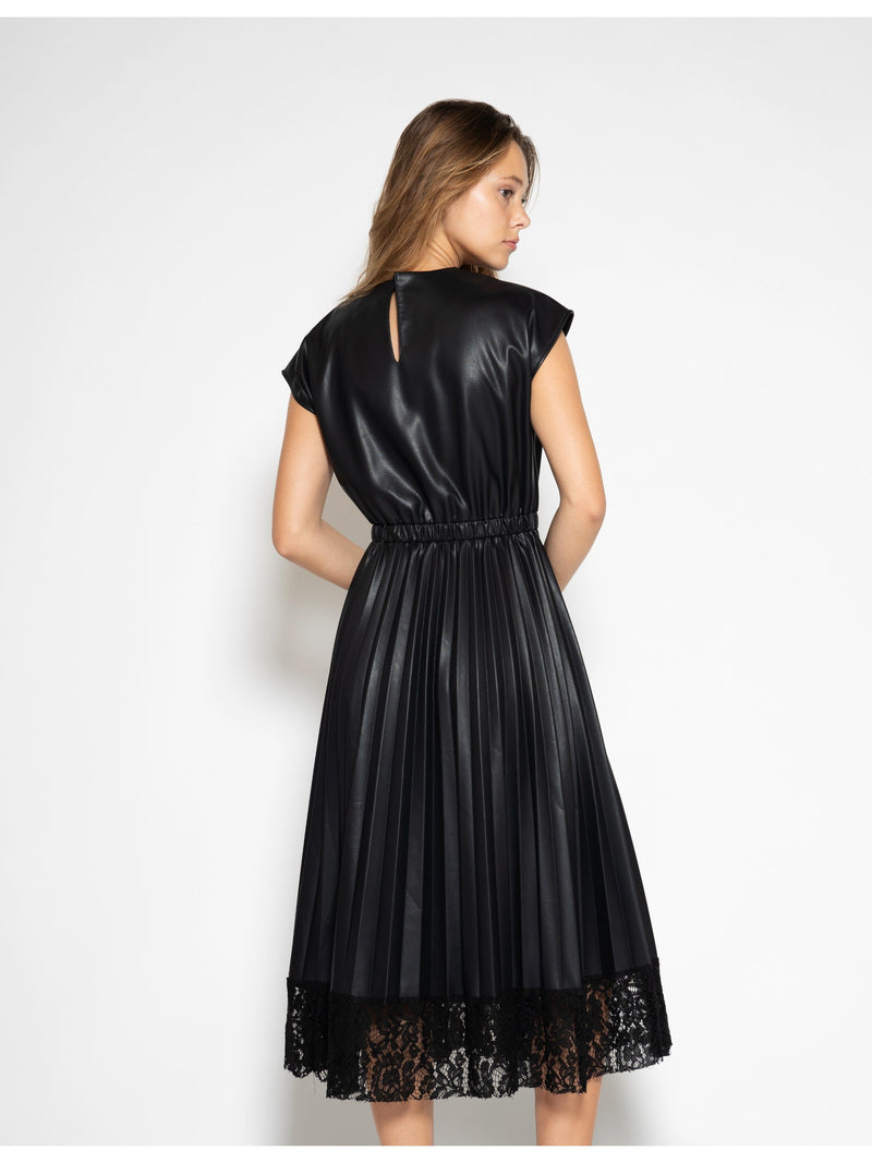 Pleated Pleather Dress with Lace Hem DRESS Gracia Fashion