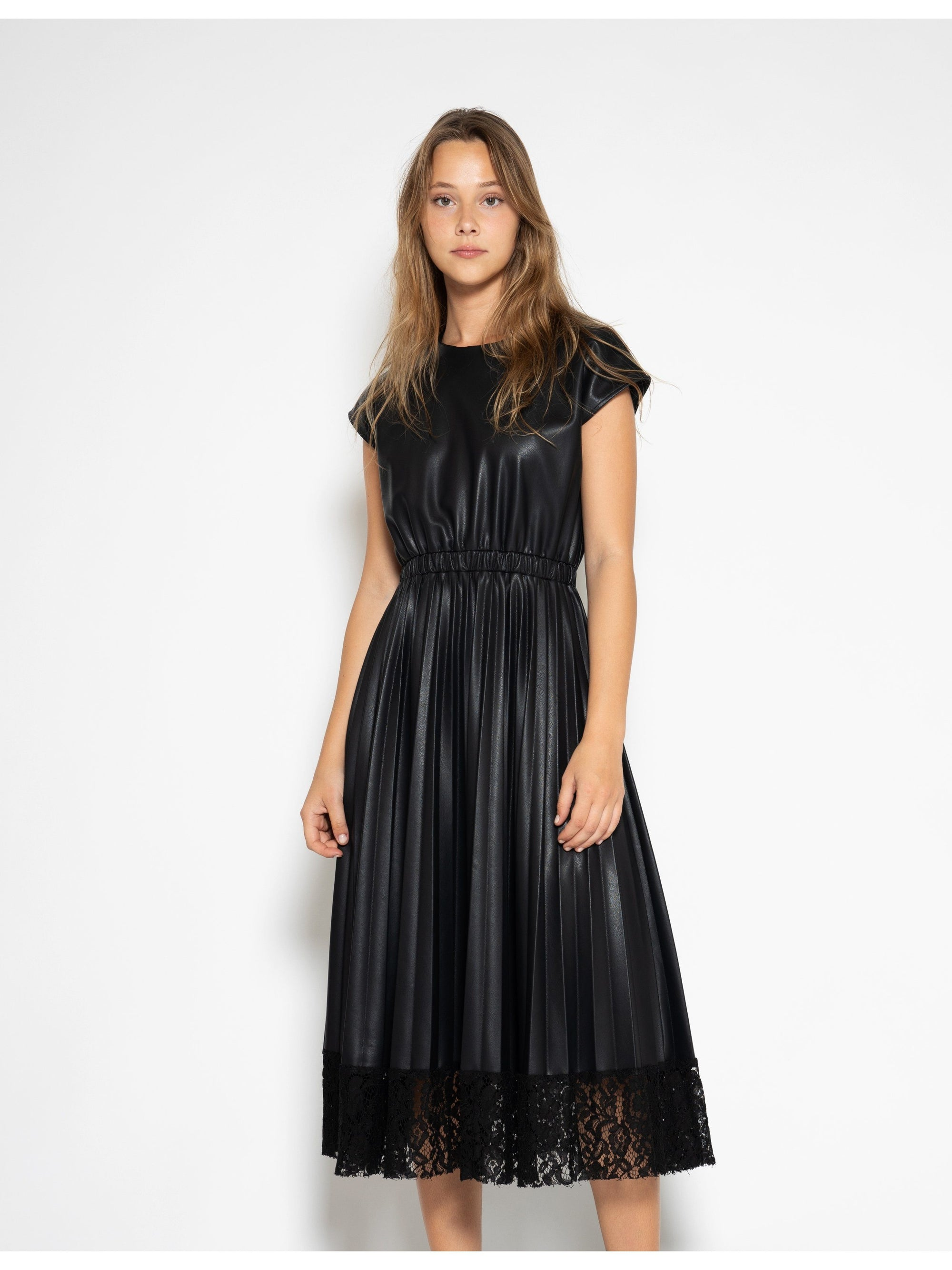 Pleated Pleather Dress with Lace Hem DRESS Gracia Fashion BLACK S