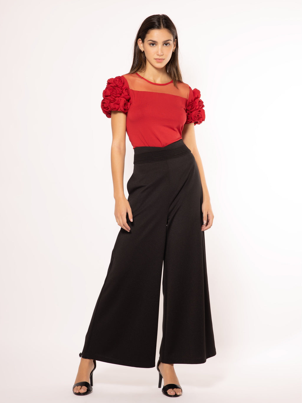 Sheer Shouldered Rose Sleeves Top TOP Gracia Fashion RED S