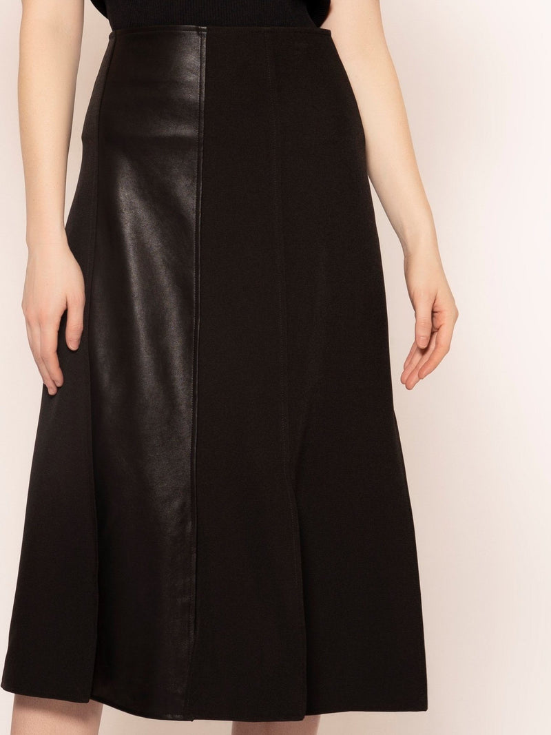 Slitted Panel Skirt with Pleather Details SKIRT Gracia Fashion