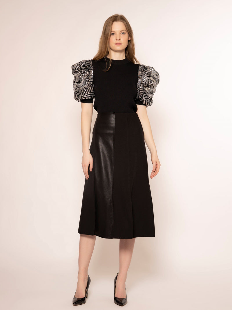Slitted Panel Skirt with Pleather Details SKIRT Gracia Fashion BLACK S