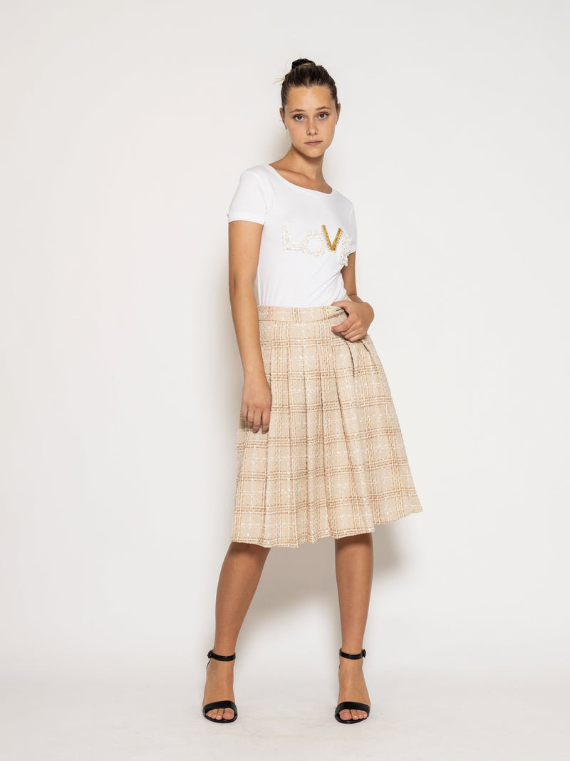 Tweed Pleats Tennis Midi Skirt SKIRT GraciaFashion BROWN S