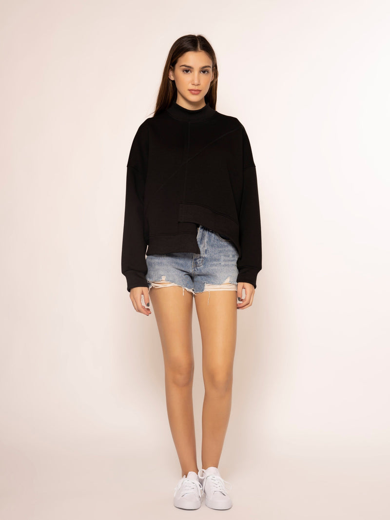 Unbalance Bottom Cut Line Long Sleeve Top TOP Gracia Fashion BLACK S