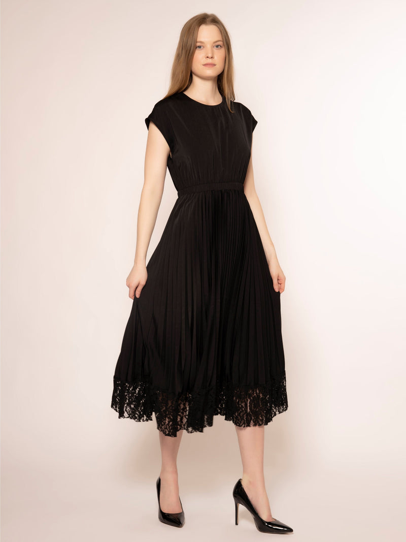 Vneck pleated detailed bottom lace dress DRESS Gracia Fashion BLACK S