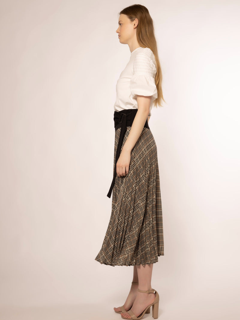 Waist Band Point Tartan Print Pleats Skirt SKIRT Gracia Fashion