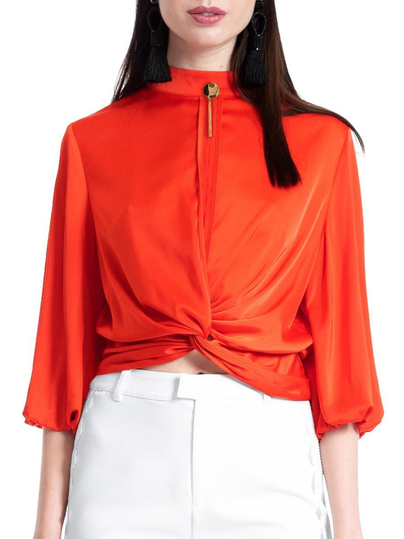 Waist tied wide sleeve top TOP Gracia Fashion ORANGE S