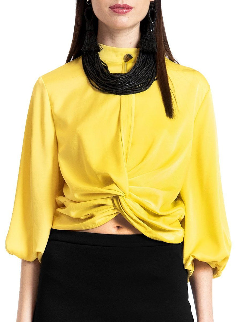 Waist tied wide sleeve top TOP Gracia Fashion YELLOW S