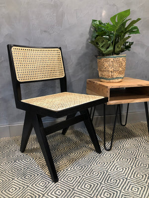 Rattan Teak Dining Chair - Black