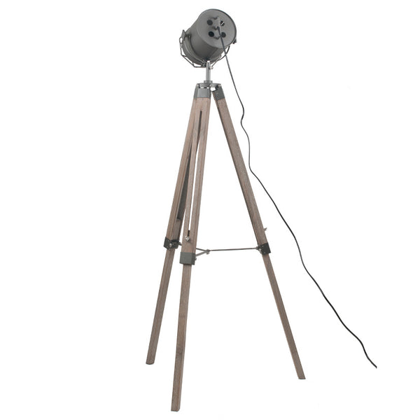Grey Metal & Antique Wood Tripod Marine Floor Lamp