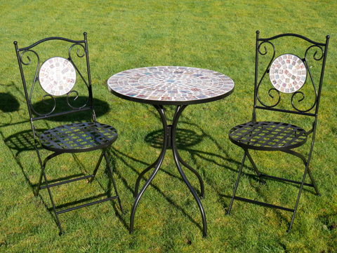 Mosaic Table & Two Chairs