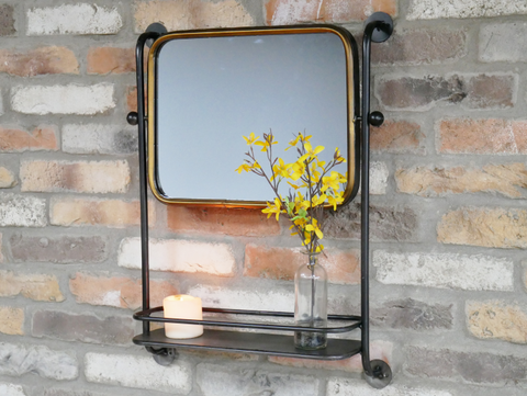 Pipe Mirror With Shelf