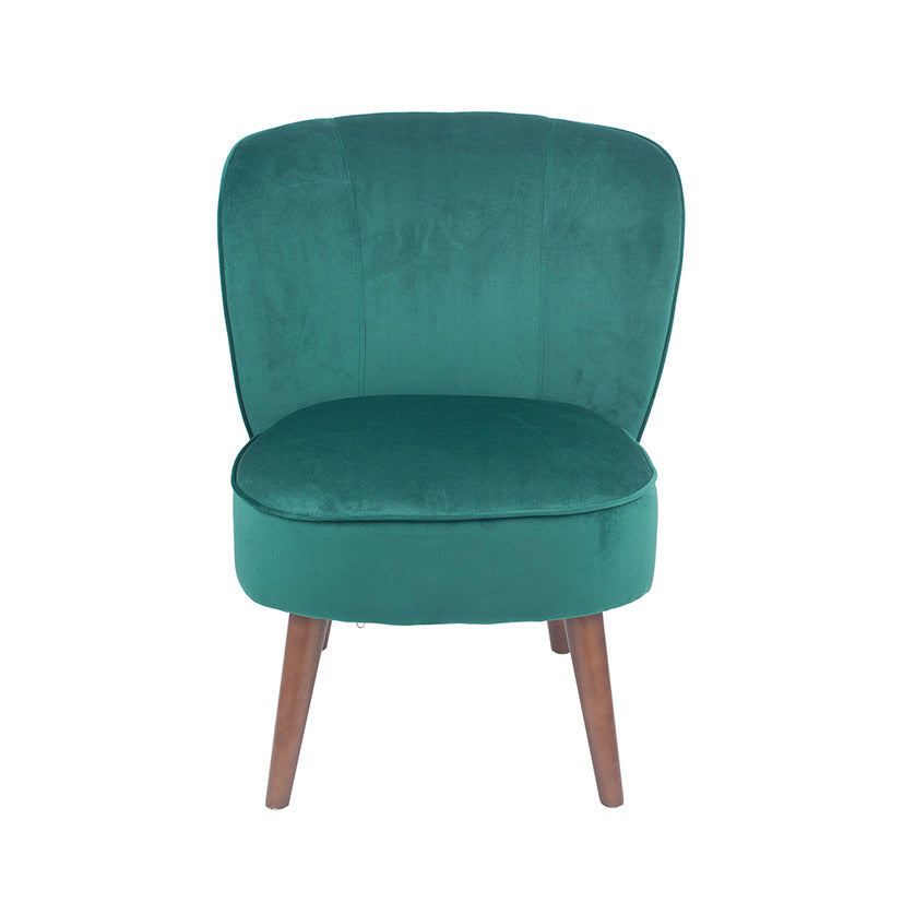 Forest Green Velvet Chair with Walnut Effect Legs