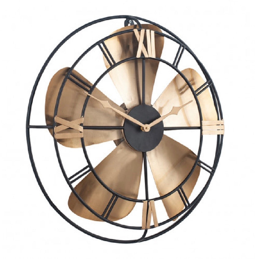 Black And Brass Fan Clock