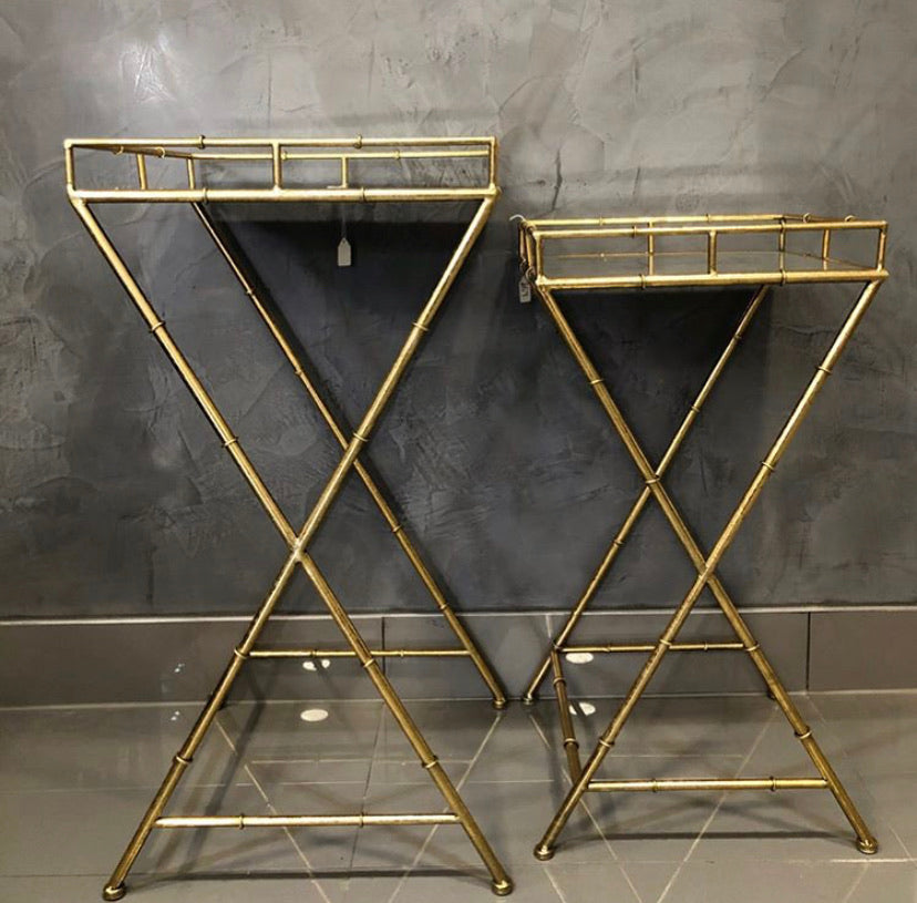 Gold Bamboo Tables - Set of 2